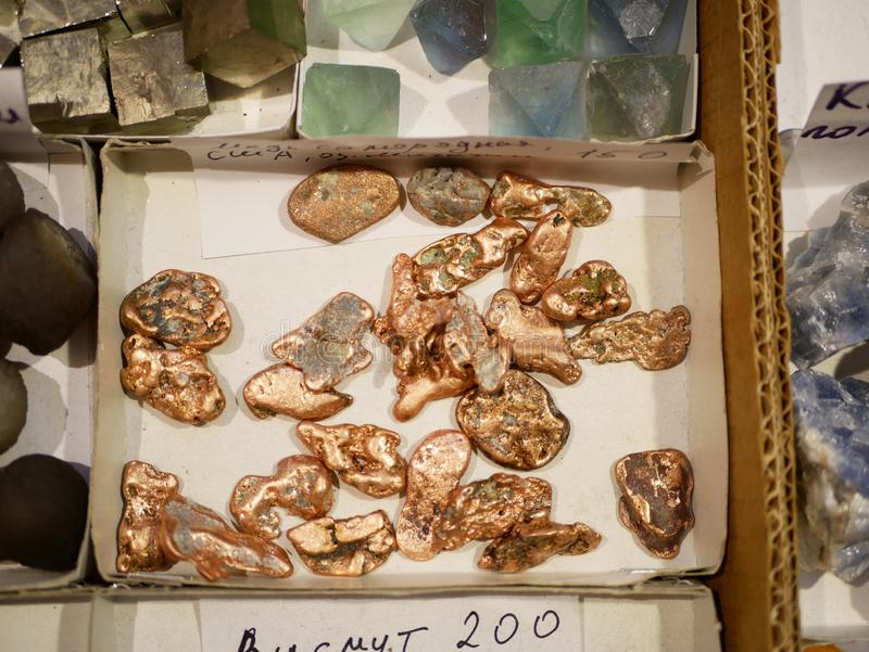 Pepite naturali di rame e di altri minerali immagini stock libere da diritti