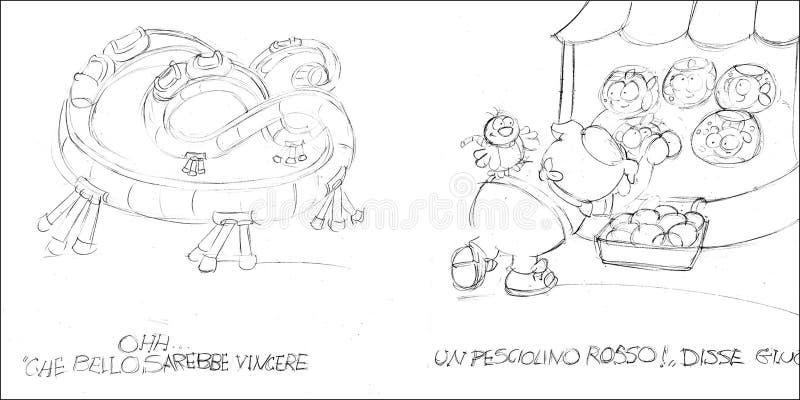 pepito de porc pêchant son poisson rouge, croquis et croquis et griffonnages de crayon illustration libre de droits