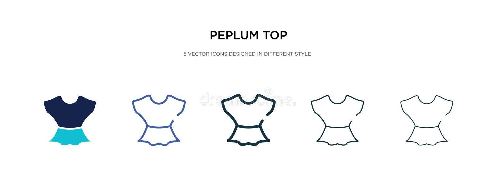 Peplum top icon in different style vector illustration. two colored and black peplum top vector icons designed in filled, outline. Line and stroke style can be royalty free illustration