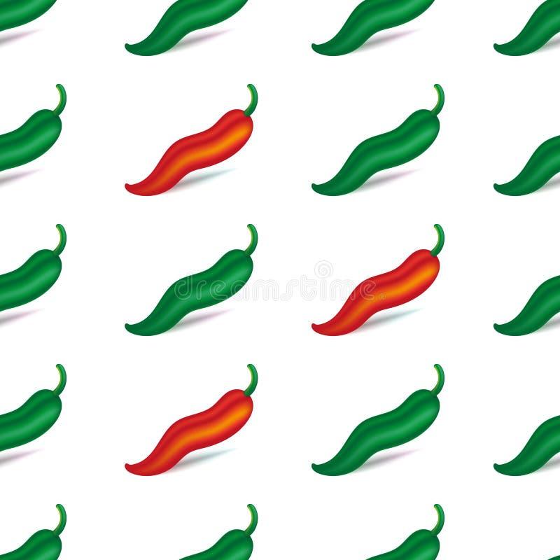 Peppar för grön och röd chili med skugga seamless modell bakgrund isolerad white också vektor för coreldrawillustration stock illustrationer