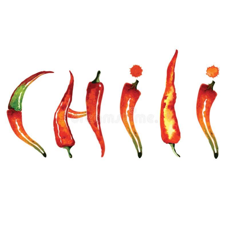 Peppar för röd chili som isoleras på vit bakgrund vektor illustrationer