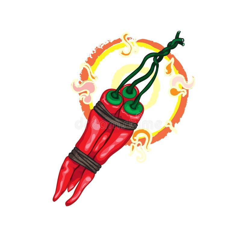 Peppar för varm chili med flammor stock illustrationer
