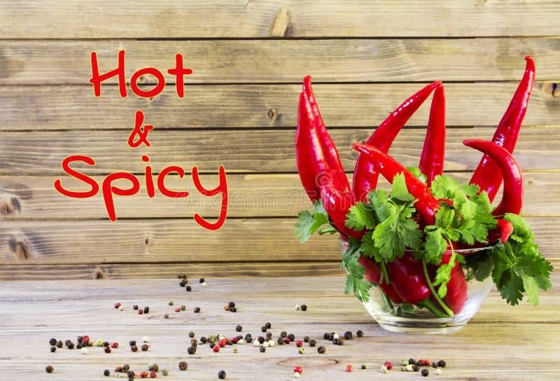 Peppar och grönska för röd chili på träbakgrundsslut upp royaltyfri fotografi