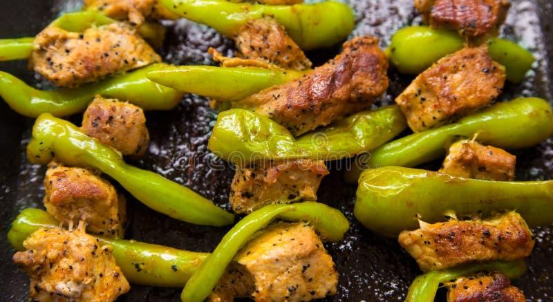 Peppar och kött royaltyfri bild