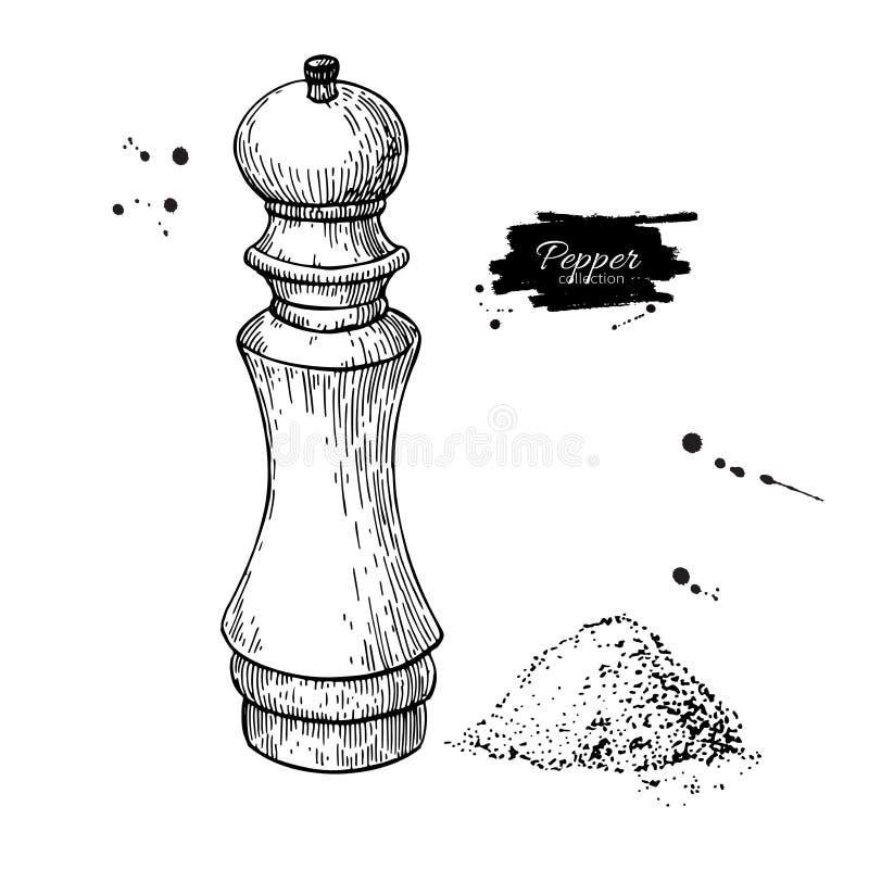 Peppar och salt maler vektorteckningen Att krydda och kryddamolar skissar Svartpepparshaker vektor illustrationer