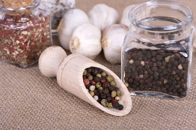 Peppar som lagras i behållaren royaltyfri bild