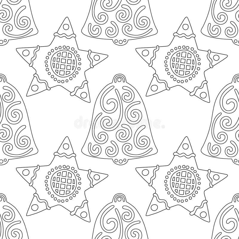Pepparkaka klockor Svartvit illustration för färgläggningbok eller sida Jul feriebakgrund stock illustrationer