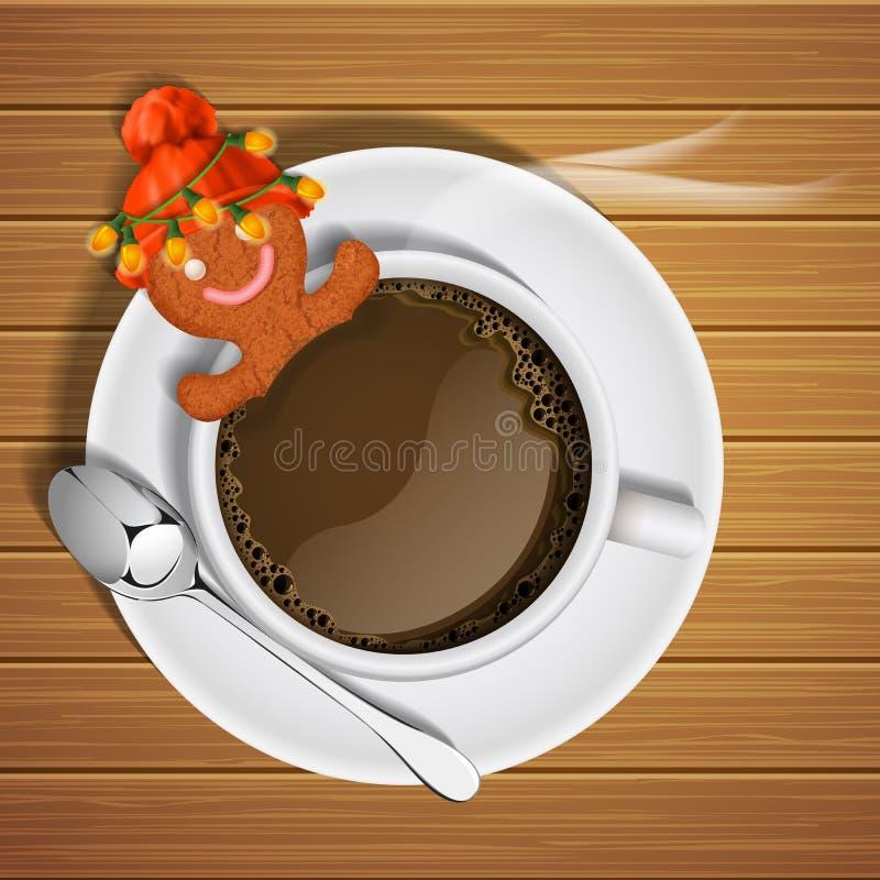 Pepparkaka med den röda stack hatten i kopp av varm choklad stock illustrationer