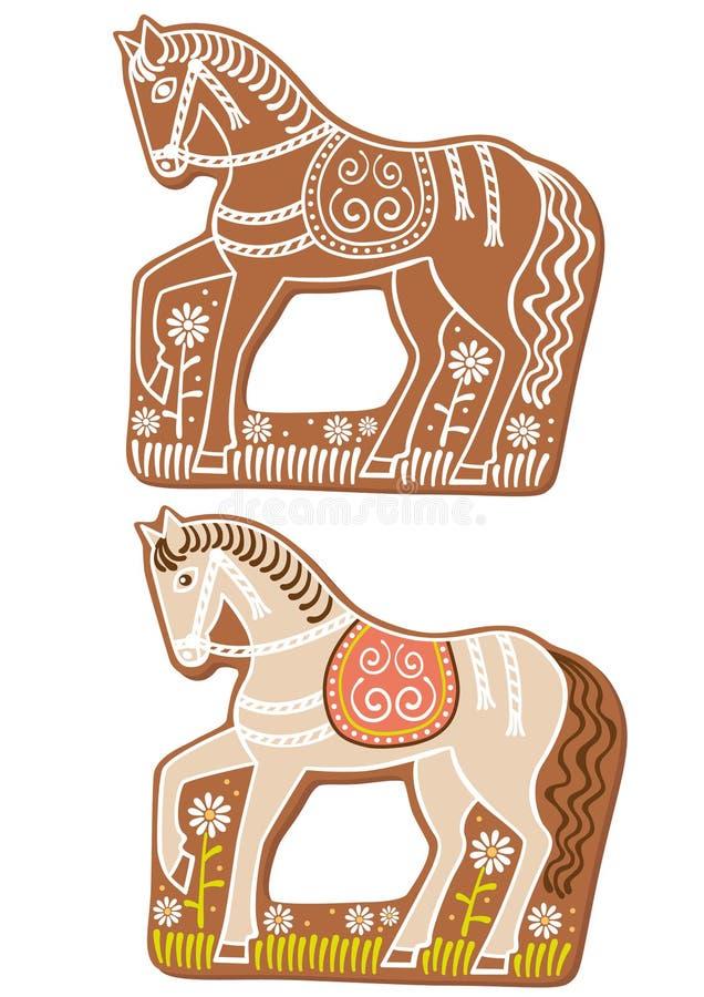 pepparkakahästar royaltyfri illustrationer