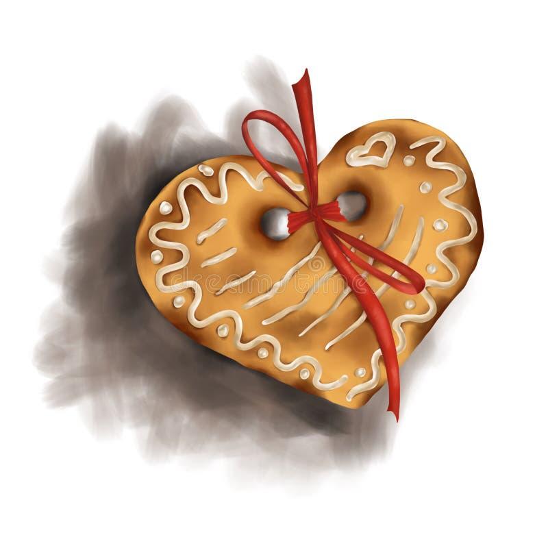 Pepparkakahjärta med en bandpilbåge med skugga, på en vit bakgrund som isoleras, jul, illustration vektor illustrationer