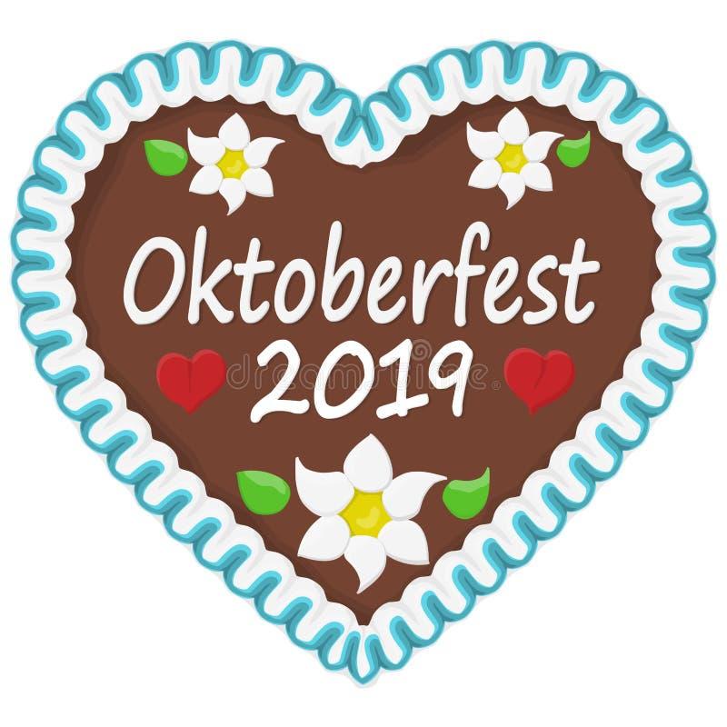 pepparkakahjärta Oktoberfest 2019 stock illustrationer