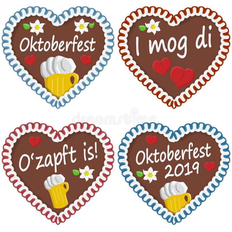 pepparkakahjärtor Oktoberfest 2019 2020 royaltyfri illustrationer