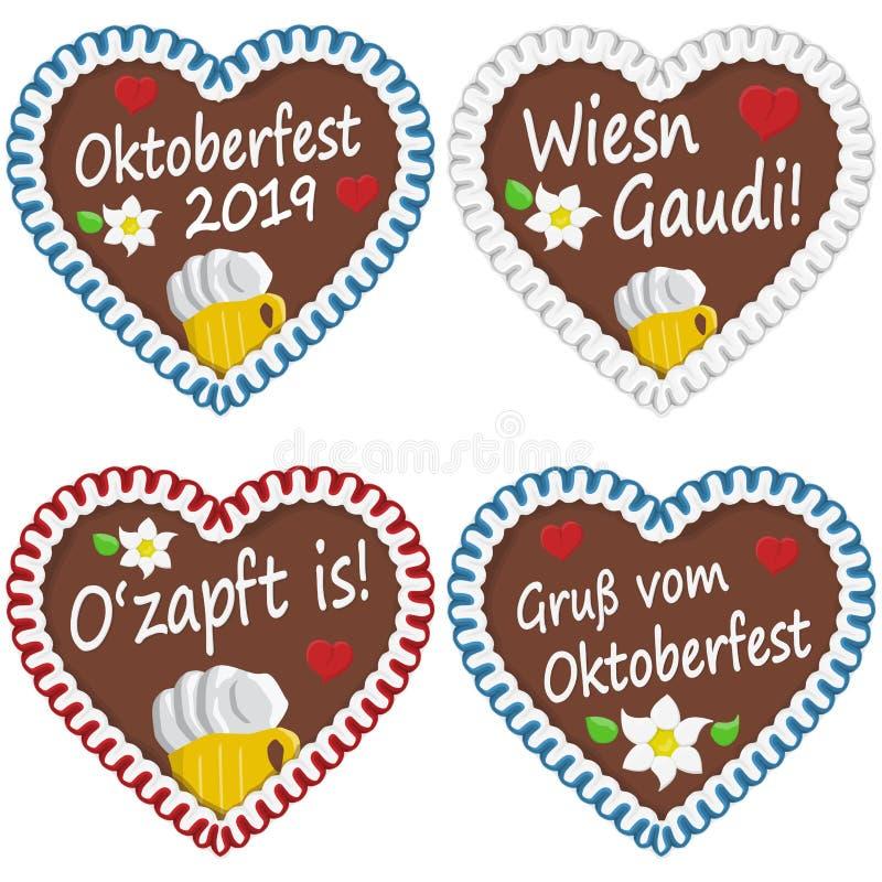 pepparkakahjärtor Oktoberfest 2019 2020 stock illustrationer