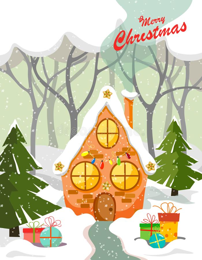 Pepparkakahus som dekoreras med en girland i skogen bland träd och träd och gåvor på snön vektor illustrationer