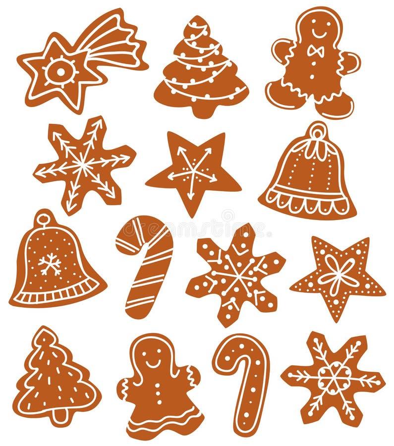 Pepparkakajulkex flera former royaltyfri illustrationer