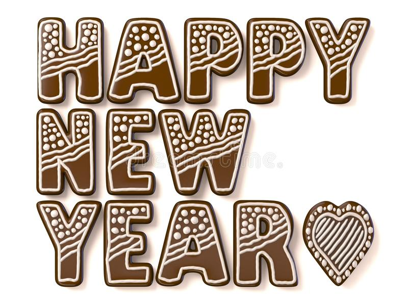 Pepparkakatecken för lyckligt nytt år 3d stock illustrationer