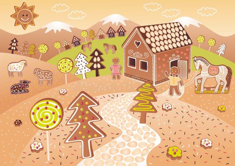 pepparkakavärld stock illustrationer