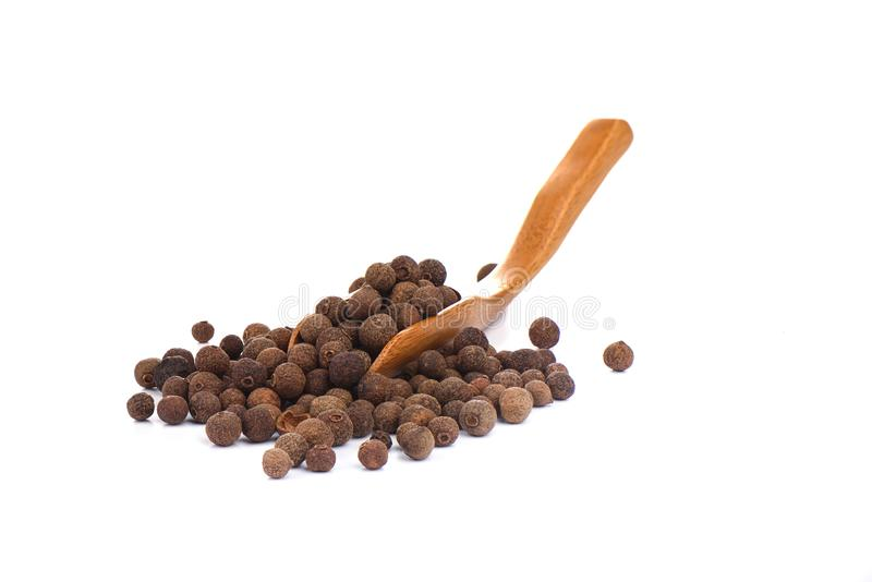 Pepper allspice on culinary wooden scoop isolated on white background. Jamaican bell pepper royalty free stock image