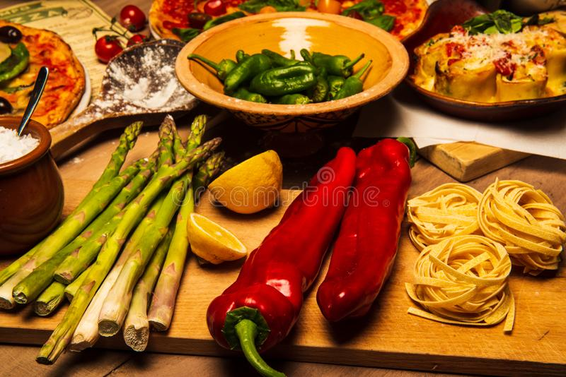 Pepper and asparagus royalty free stock images
