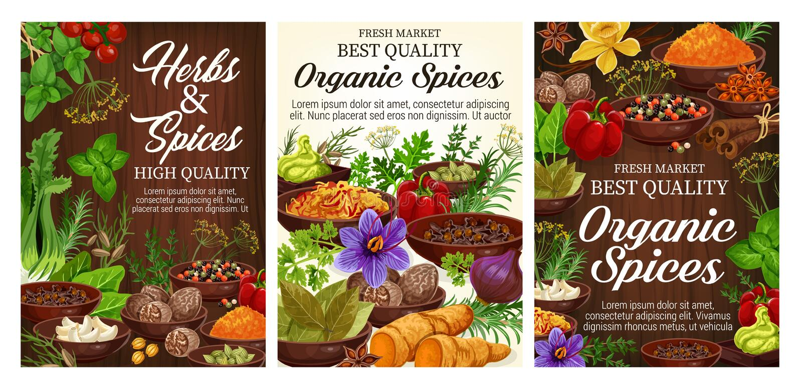 Pepper, basil, cinnamon, vanilla. Herbs and spices. Fresh herbs, spices, vegetable seasonings and food condiments on wooden background. Vector pepper, parsley royalty free illustration