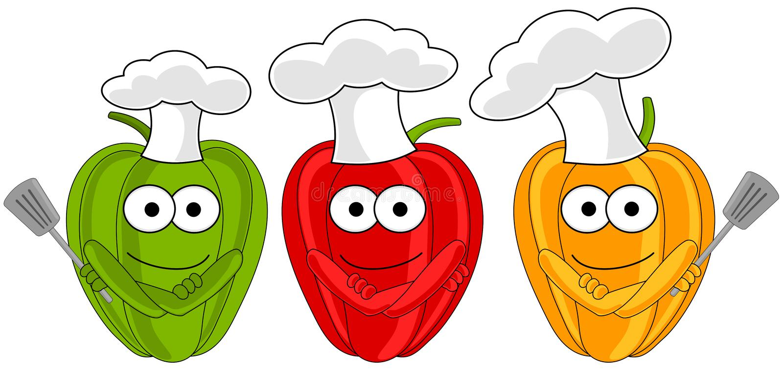 Pepper Bell with chef hat royalty free illustration