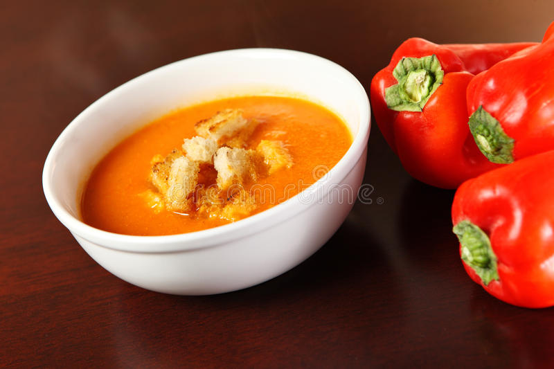Pepper cream soup royalty free stock photos