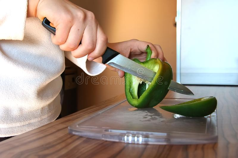Pepper cutting royalty free stock photos