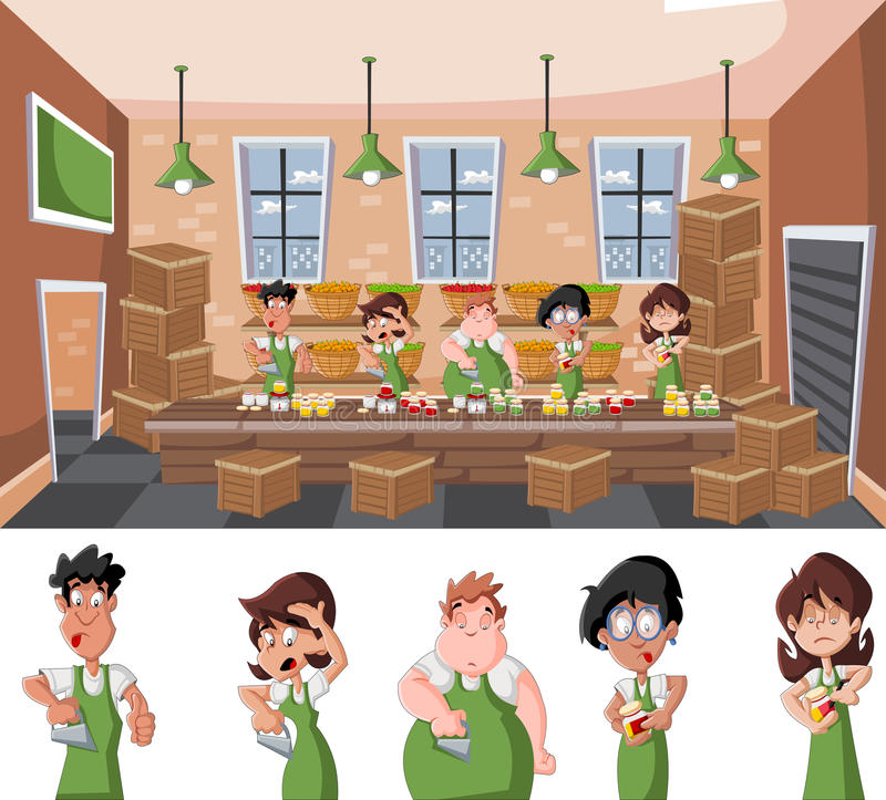 Pepper factory warehouse with people working royalty free illustration