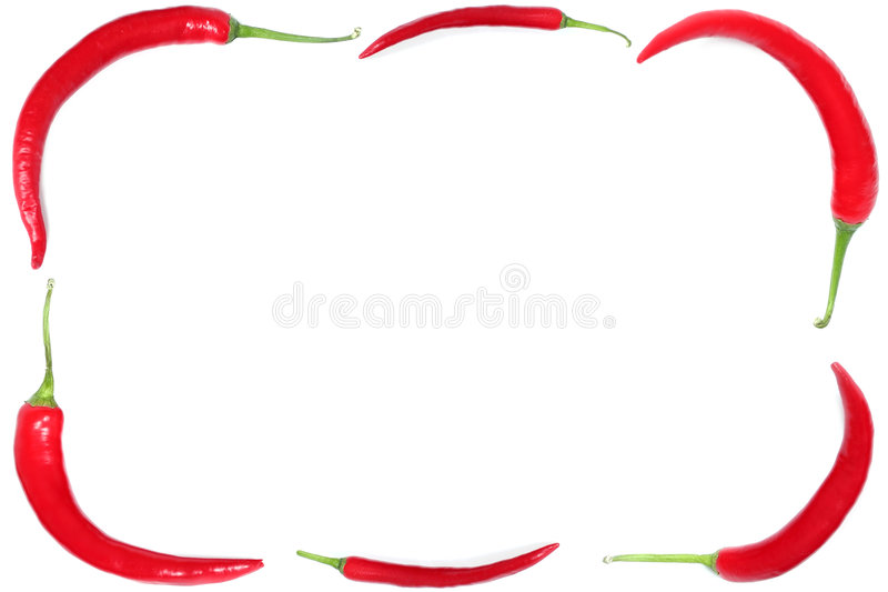 Pepper frame. Red hot chili peppers royalty free stock photo