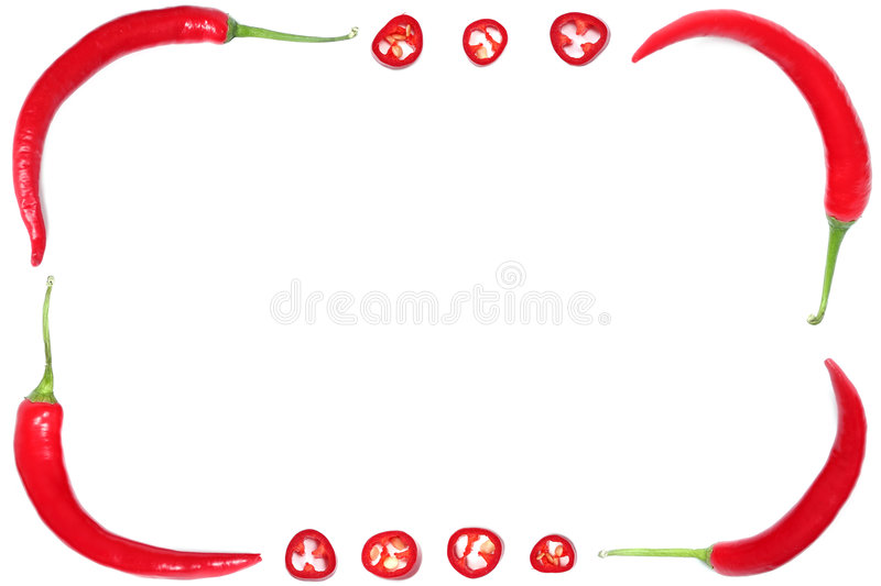 Pepper frame. Red hot chili peppers royalty free stock photography
