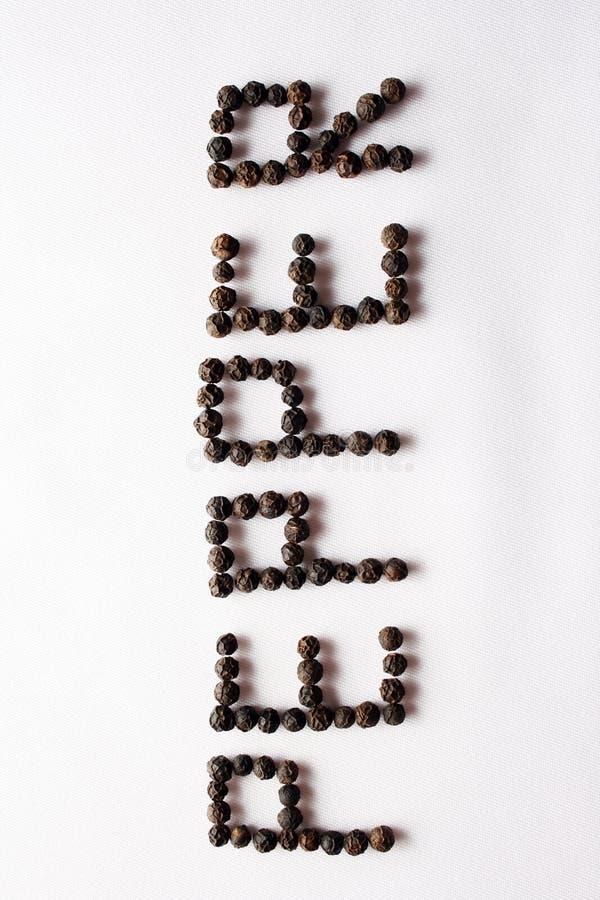 Pepper grains written pepper