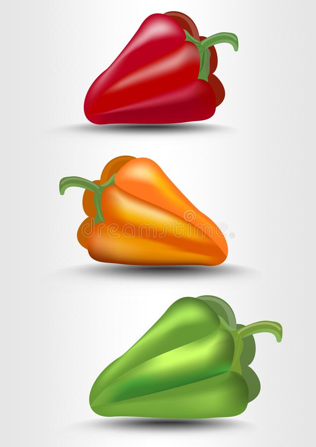 Pepper , green, yellow and red, photorealistic vector illustration with shadow on white background vector illustration