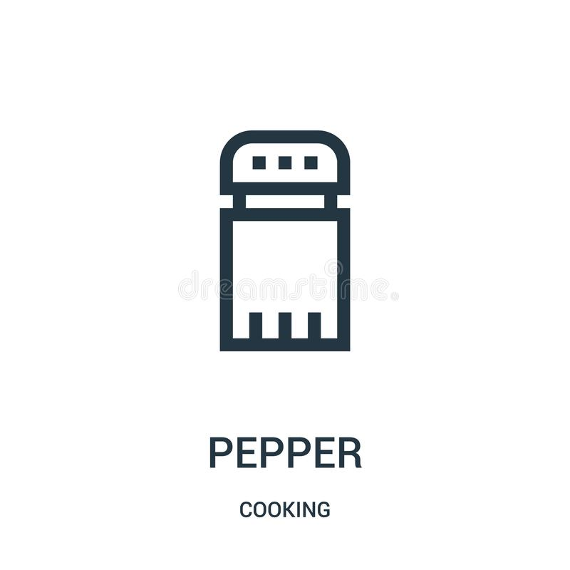 pepper icon vector from cooking collection. Thin line pepper outline icon vector illustration. Linear symbol stock illustration