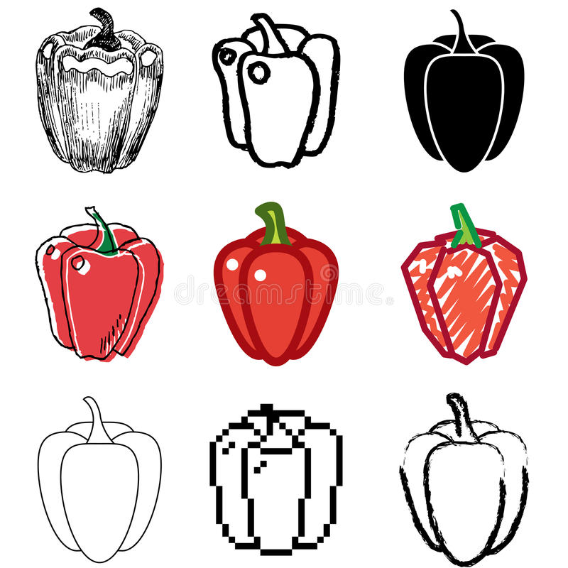 Download Pepper icons set stock vector. Image of vegetable, white - 23873277