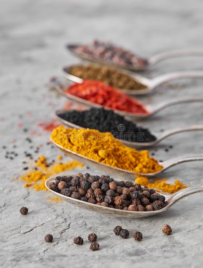 Pepper and other spices in spoons royalty free stock photo