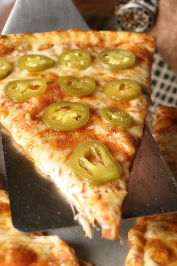 Pepper Pizza Angle Closeup stock photo
