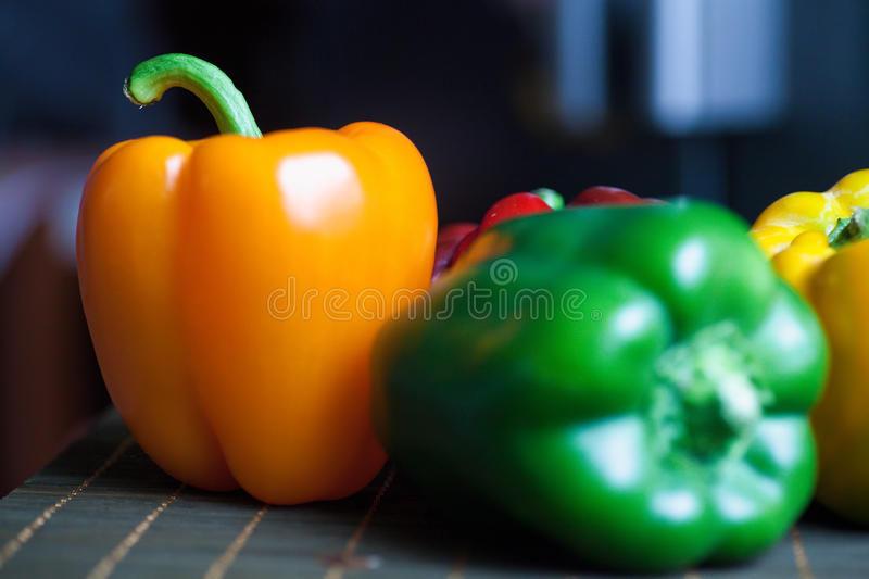Pepper in a row royalty free stock photo