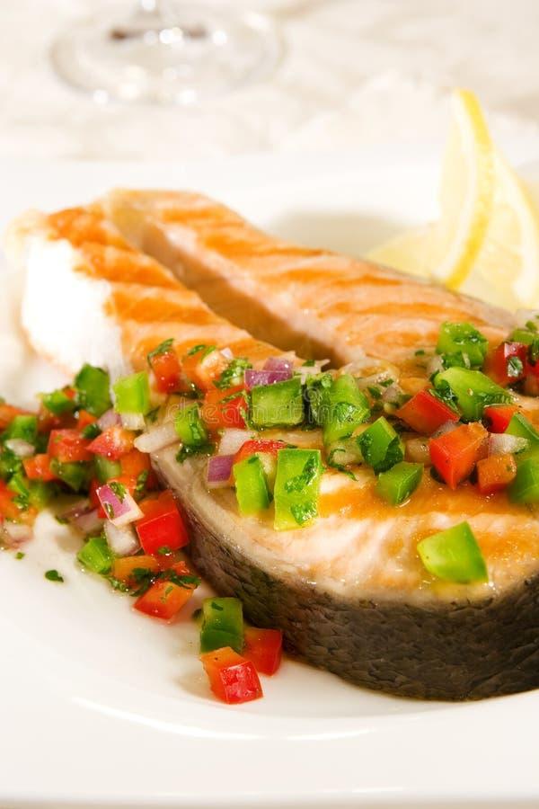 pepper salsę łososia fotografia stock