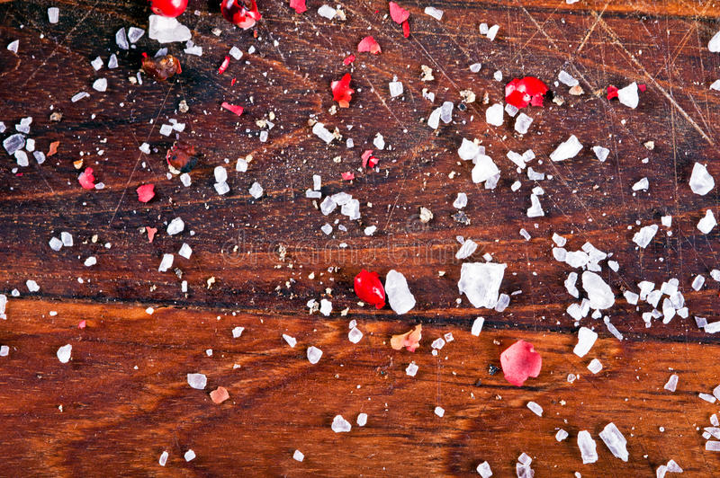 Download Pepper And Salt On Wood Background Stock Photo - Image: 24108742