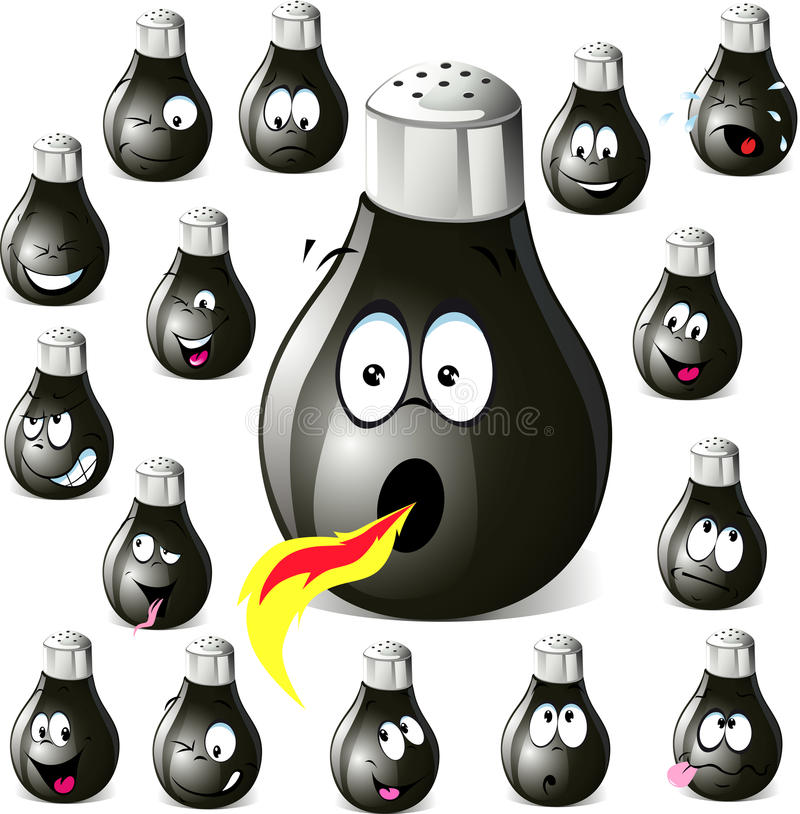 Download Pepper Shaker Cartoon With Many Expressions Stock Vector - Illustration: 29876852