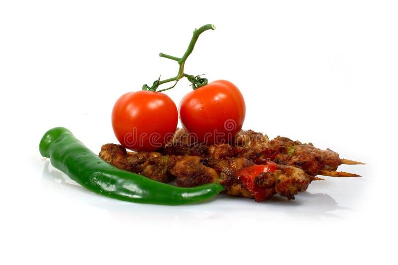 Pepper and shish kebab royalty free stock photo