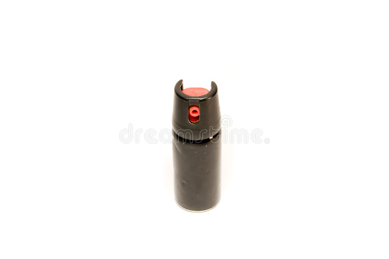 Pepper spray isolated on white. Self-defence can of pepper spray isolated on white royalty free stock photography