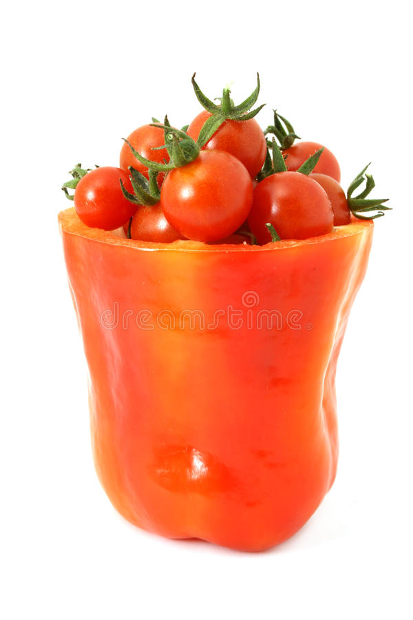Pepper and tomatoes stock photography