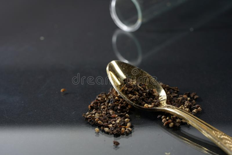 Pepper was a precious commodity and was temporarily outweighed by gold. Pepper was a luxury item, but its importance was mainly because it can be used to make royalty free stock image