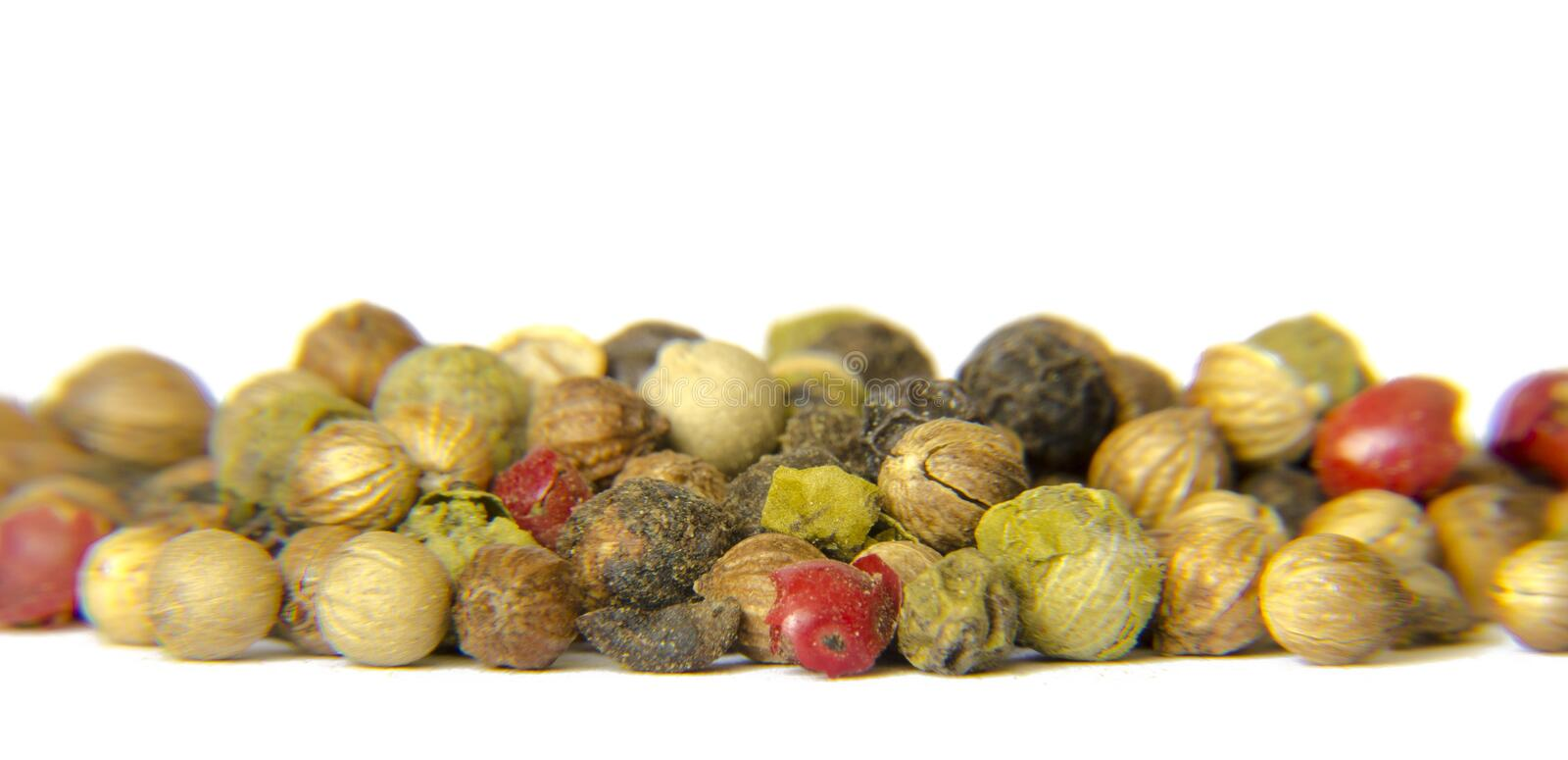 Peppercorns. Colorful Peppercorns close up on white background stock photography