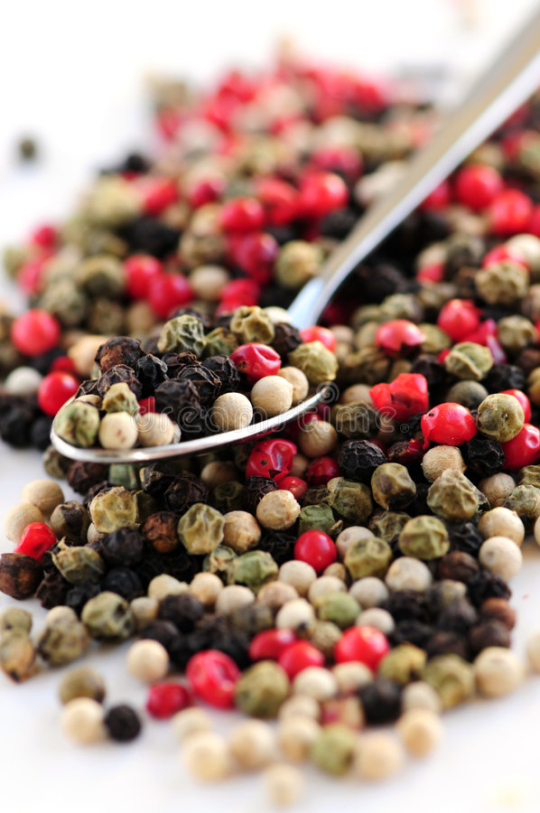 Peppercorns misturados foto de stock