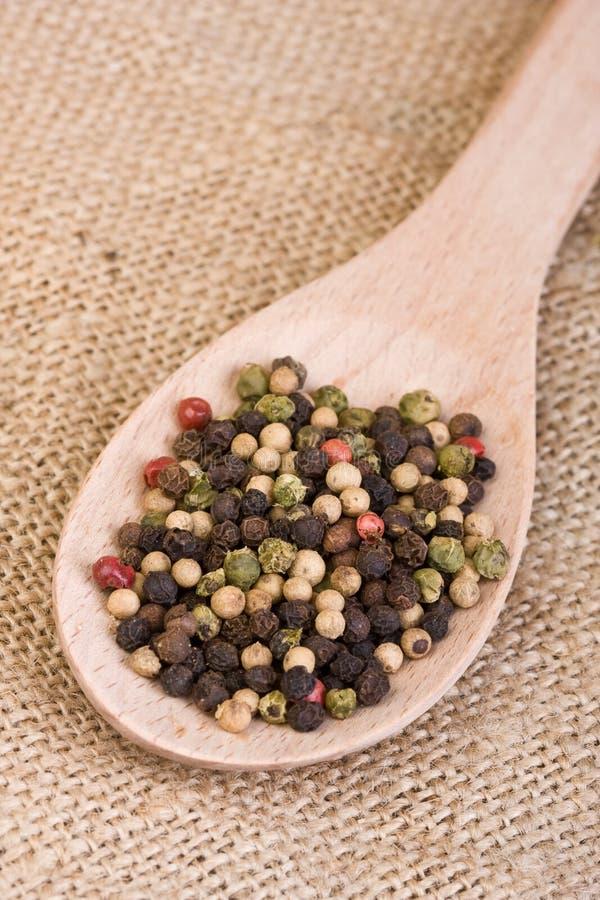 peppercorns spoon drewnianego zdjęcia stock