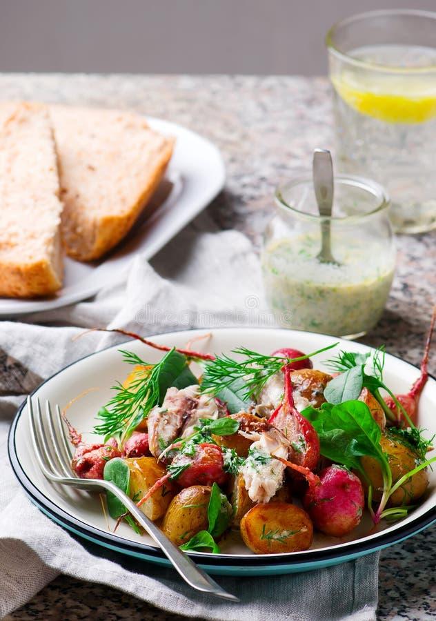Peppered de nieuwe aardappel van de braadstukradijs makreelsalade royalty-vrije stock foto