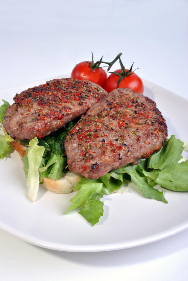 Download Peppered Lamb Grill Steak And Organic Tomato Stock Photo - Image: 11658406