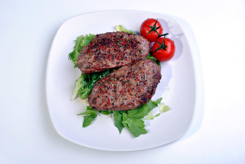 Download Peppered Lamb Grill Steak And Organic Tomato Stock Photo - Image: 11672480